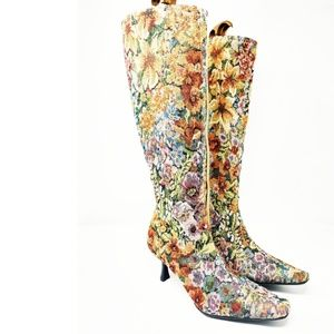 Diba Floral Carpet Tapestry Knee High Boots 9